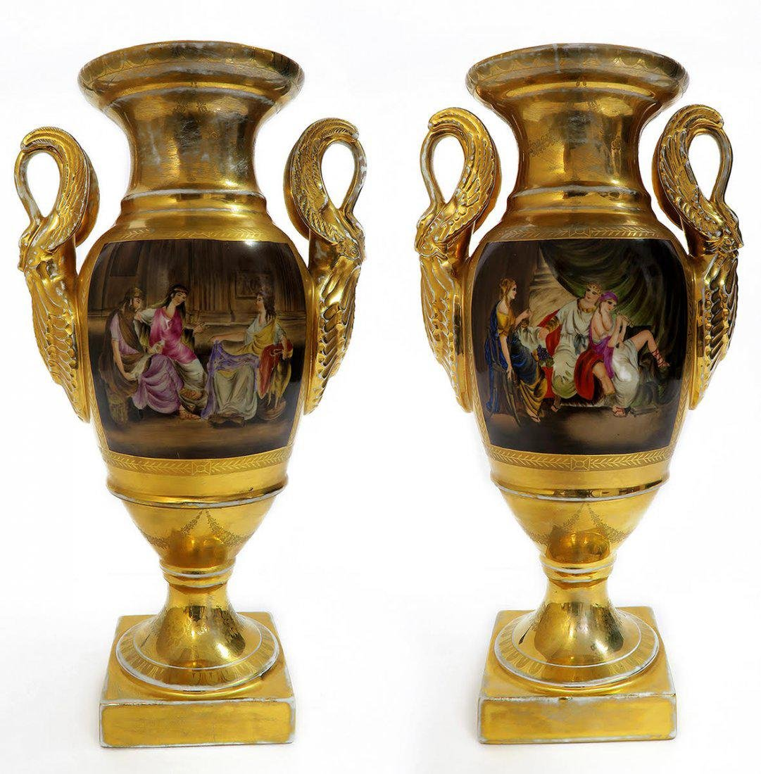 Large Pair of Hand Painted KPM Vases
