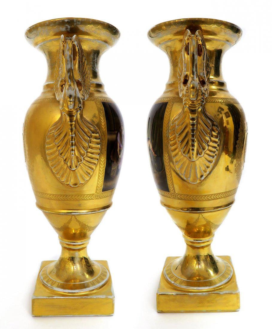 Large Pair of Hand Painted KPM Vases - 5
