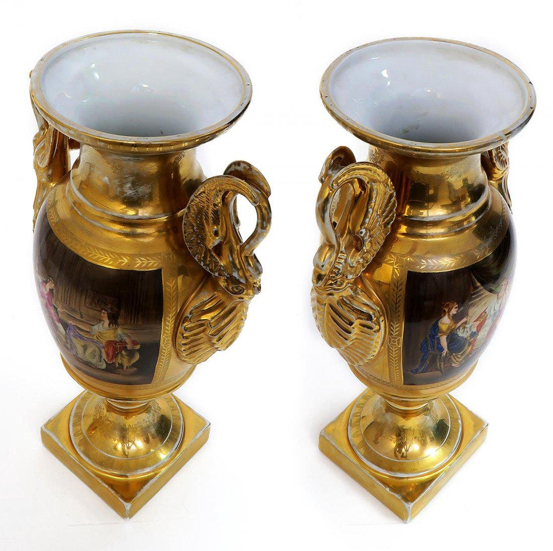 Large Pair of Hand Painted KPM Vases - 8