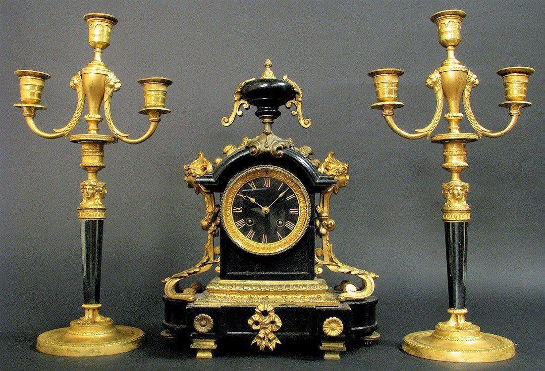 19th C French Bronze & Marble Clock & Candelabras