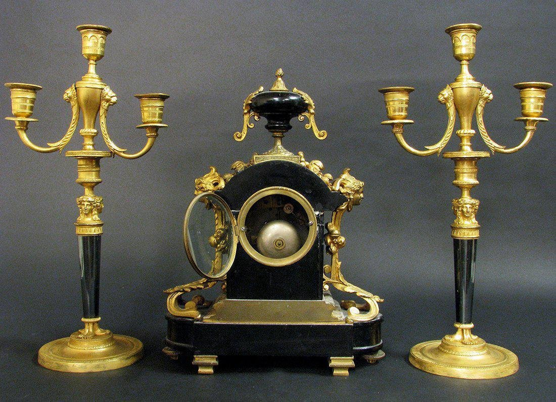 19th C French Bronze & Marble Clock & Candelabras - 2
