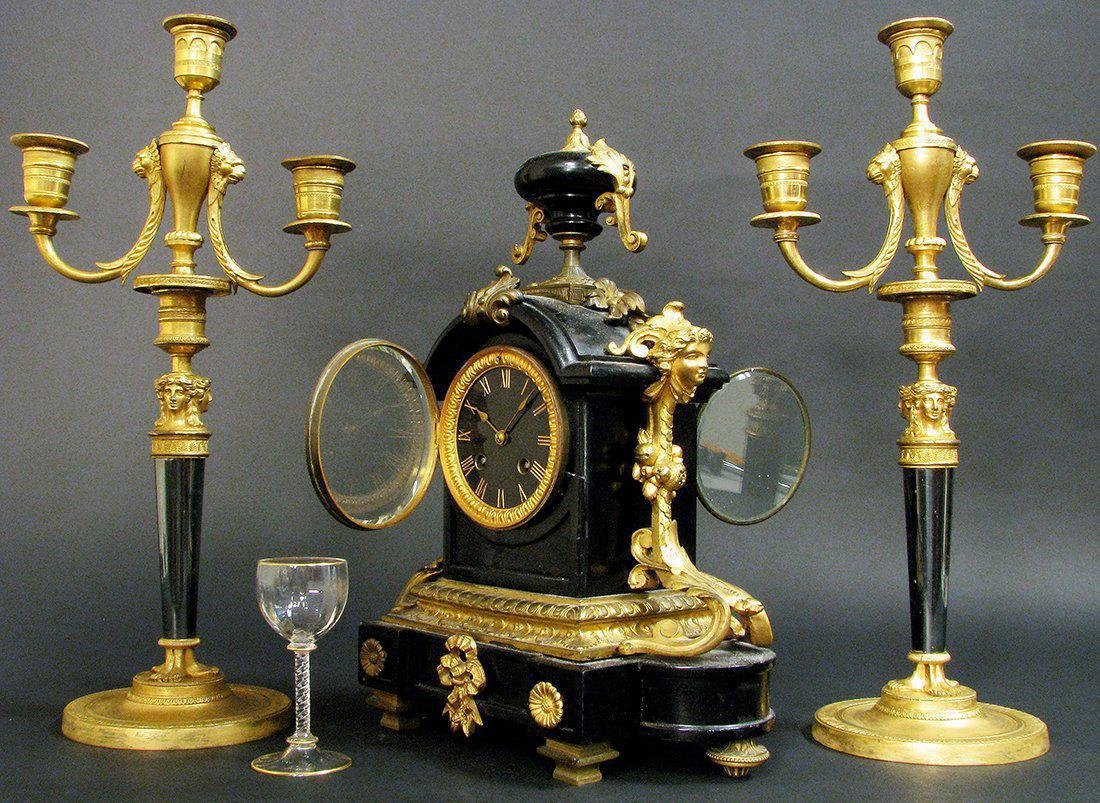 19th C French Bronze & Marble Clock & Candelabras - 3