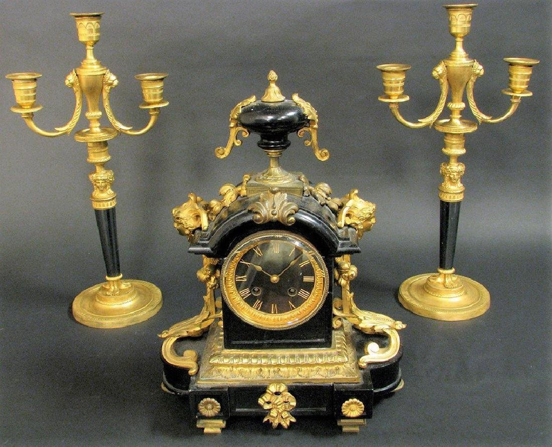 19th C French Bronze & Marble Clock & Candelabras - 4