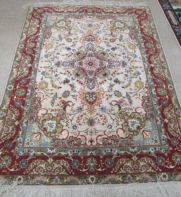 Fine Persian Silk and Wool Area Rug, hand knotted