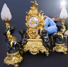 Magnificent Palatial French Figural Bronze Clock Set