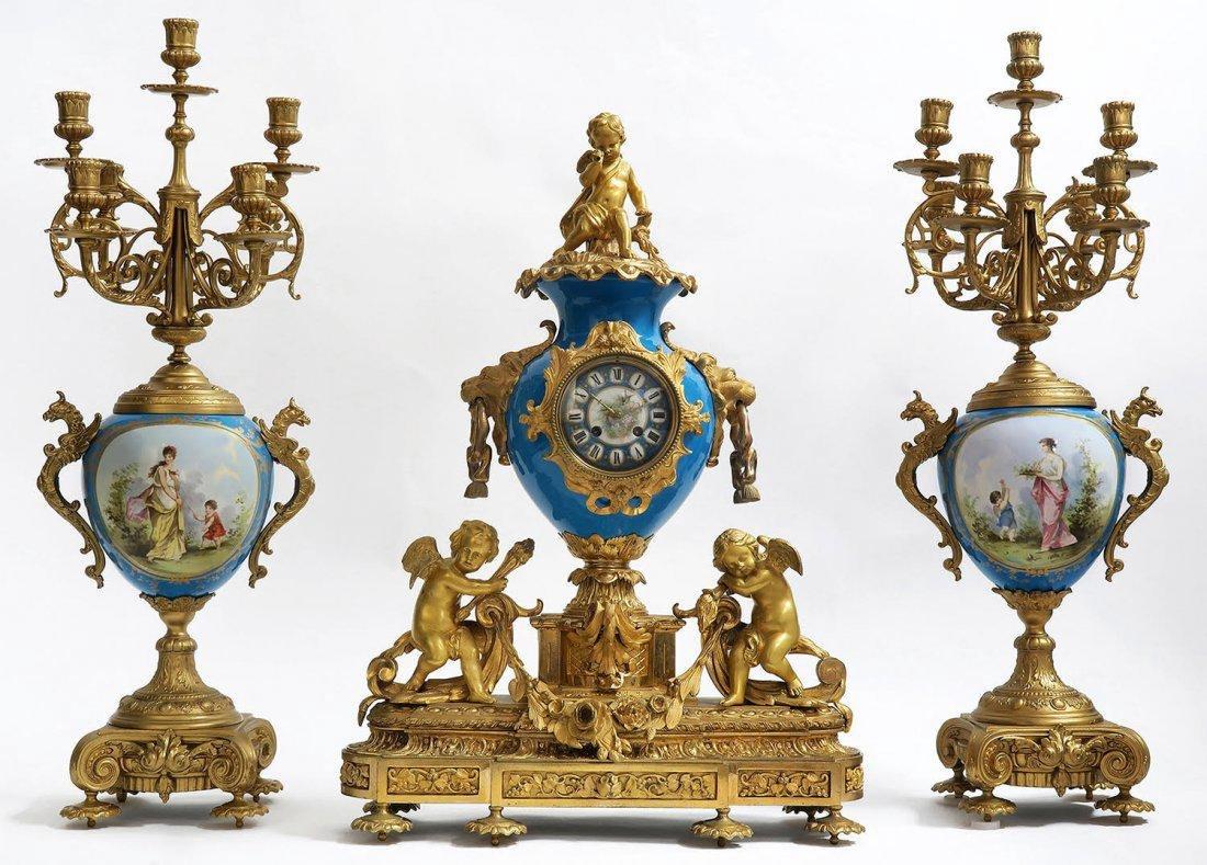 Monumental French Bronze & Sevres Porcelain Clock Set