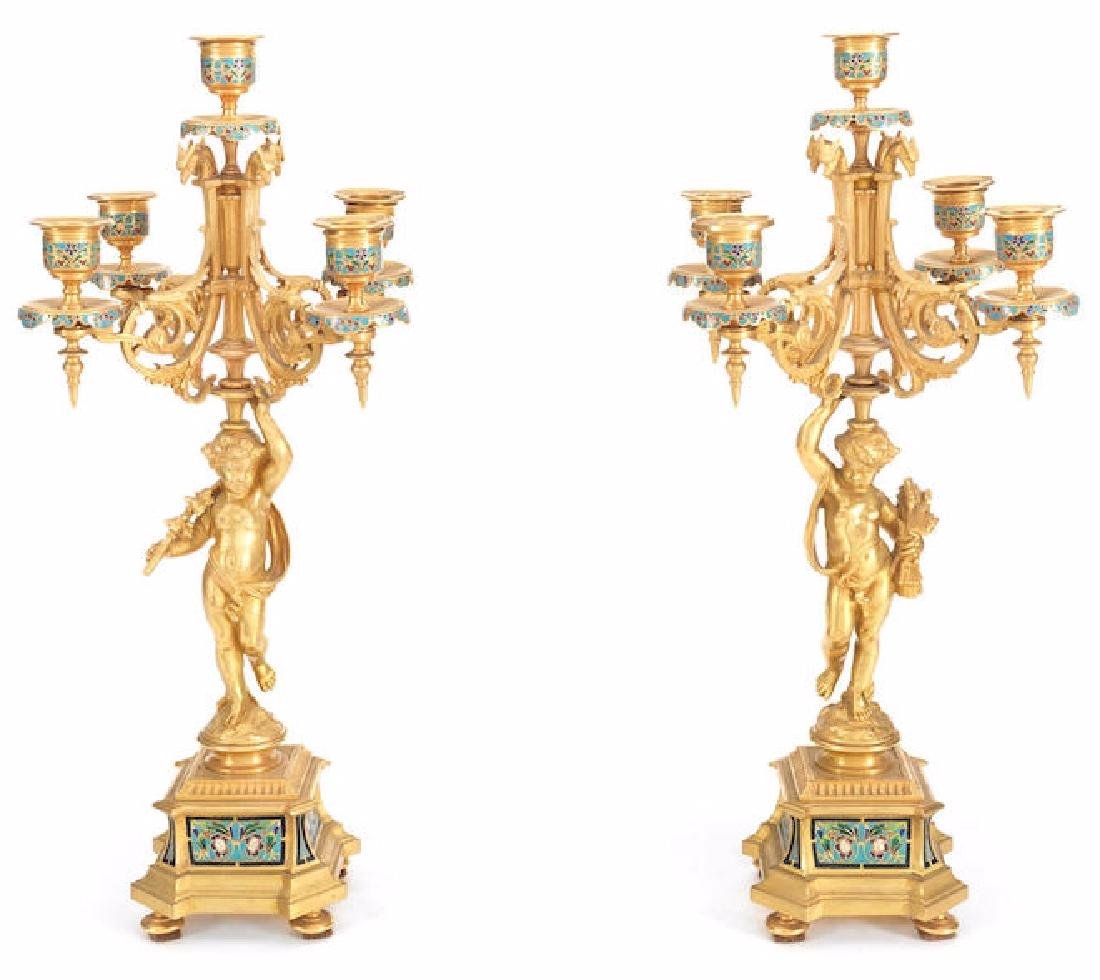 19TH C. FRENCH GILT BRONZE CHAMPLEVE ENAMEL CANDELABRAS