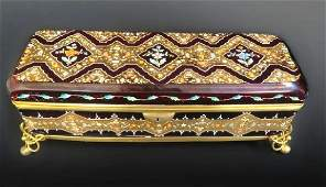 Large 19th C. Moser Enameled Jewelry Box/Casket