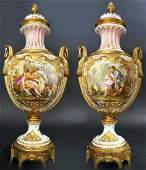 Large Pair of French Bronze  Porcelain Vases 19th C