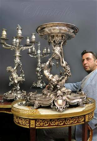 19th C. Figural Christofle Centerpiece & Candelabras