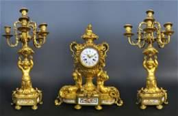 Fine French Sevres & Figural Bronze Clock Set