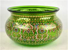 French Brocard Enamelled Glass Bowl 19th C.