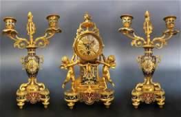 French Champleve Enamel  Figural Bronze Clock Set