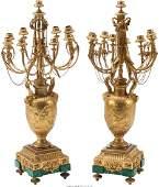 A Pair of Louis XVIStyle Bronze  Malachite Candelabra