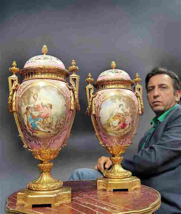 Very Large Pair of 19th C. French Sevres Vases