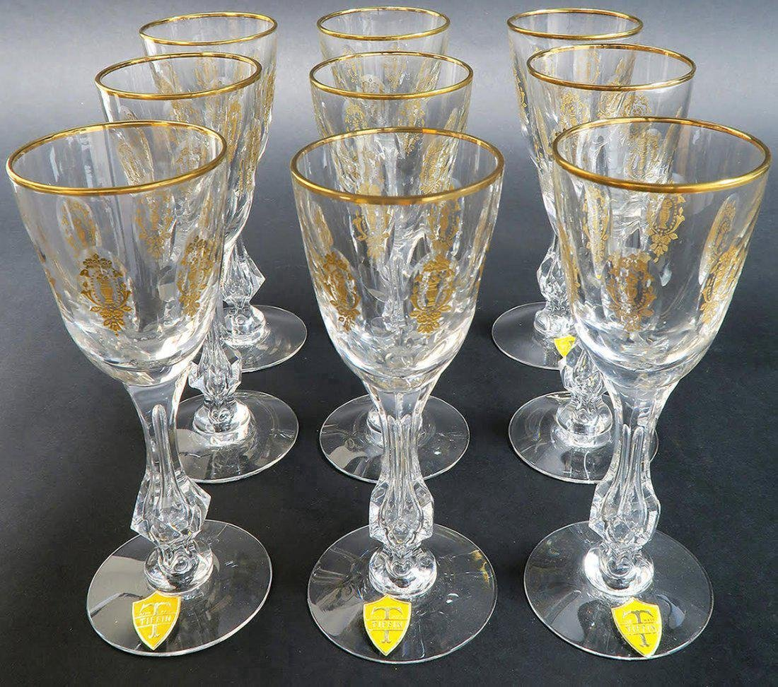 9 CRYSTAL TIFFIN MARTINI GLASSES WITH GOLD ENAMEL