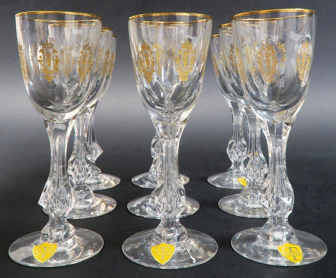 9 CRYSTAL TIFFIN MARTINI GLASSES WITH GOLD ENAMEL - 2