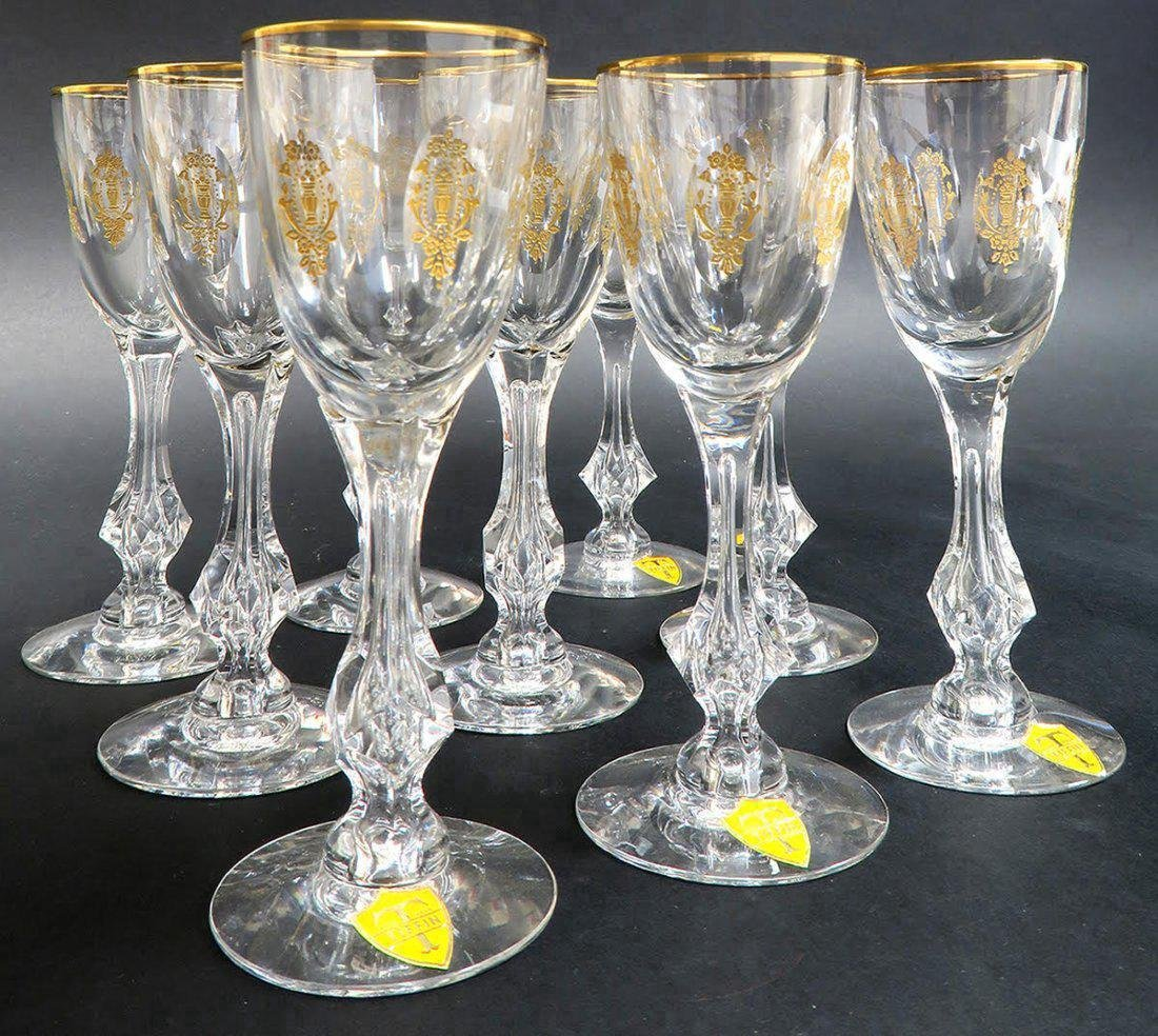 9 CRYSTAL TIFFIN MARTINI GLASSES WITH GOLD ENAMEL - 3