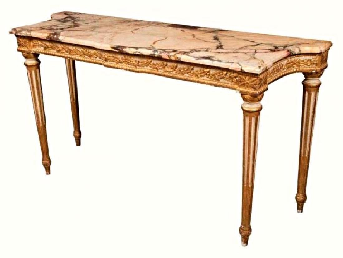 Louis XVI Style Carved, Painted and Gilt wood Console - 2
