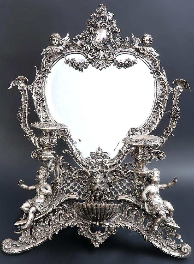 19th C. French Silver Plated Figural Dresser Mirror