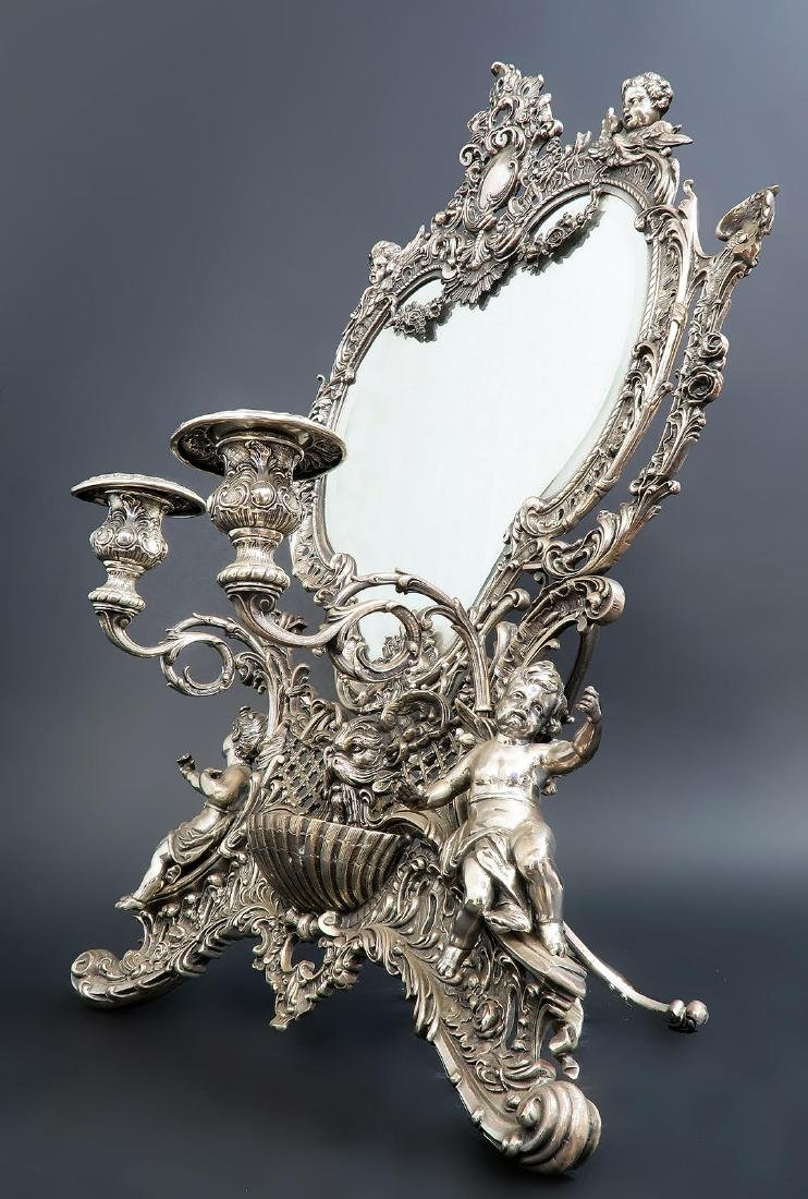 19th C. French Silver Plated Figural Dresser Mirror - 2