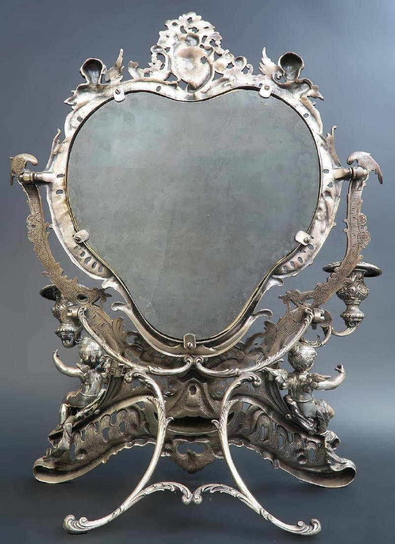 19th C. French Silver Plated Figural Dresser Mirror - 4