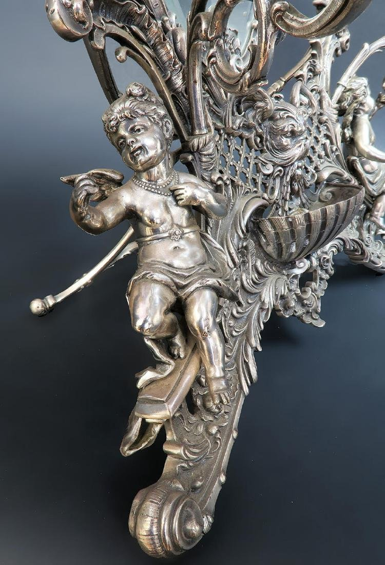 19th C. French Silver Plated Figural Dresser Mirror - 5