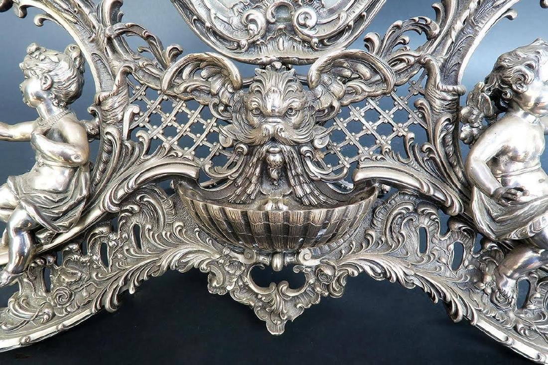 19th C. French Silver Plated Figural Dresser Mirror - 6