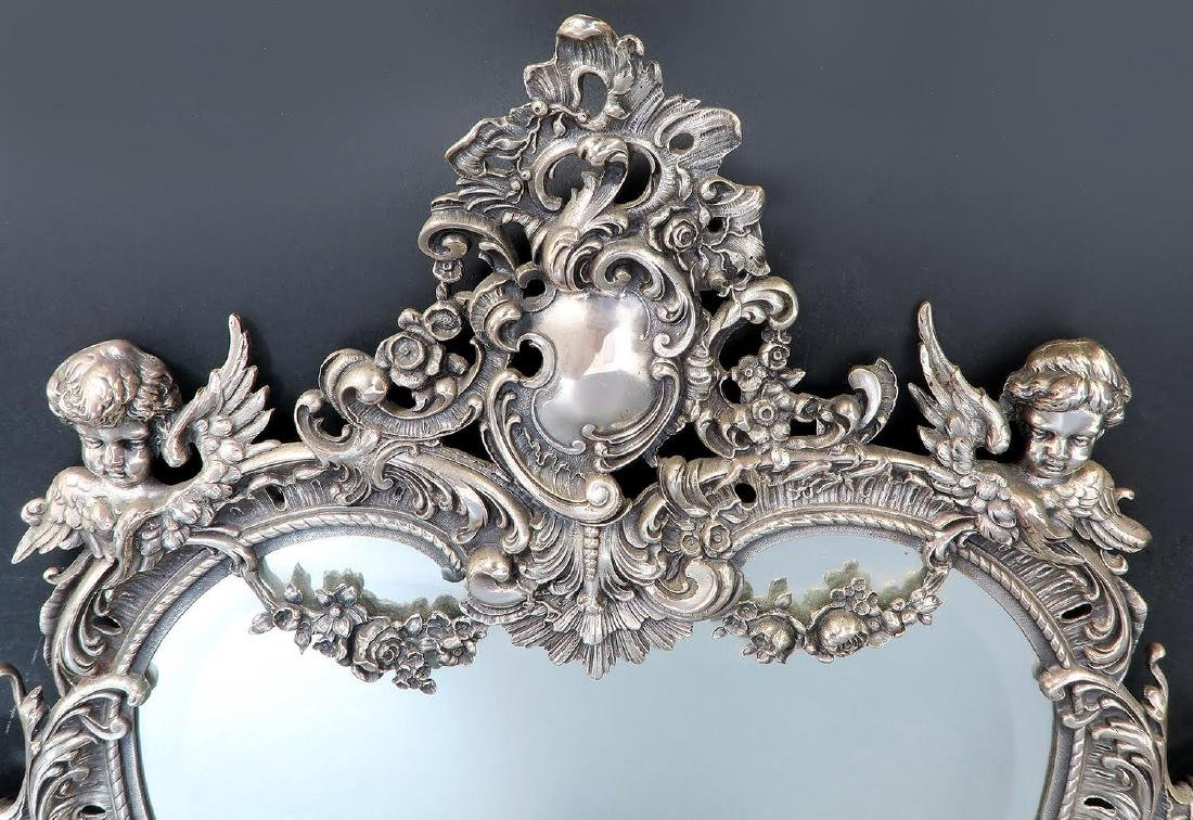 19th C. French Silver Plated Figural Dresser Mirror - 7