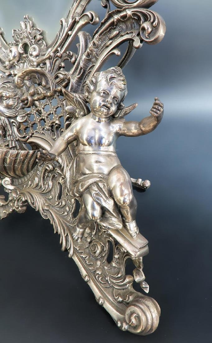 19th C. French Silver Plated Figural Dresser Mirror - 8