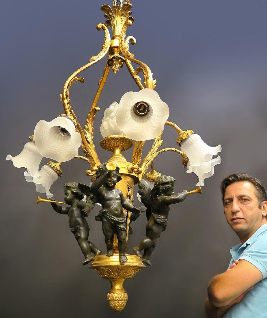 Magnificent 19th C. French Figural Bronze Chandelier