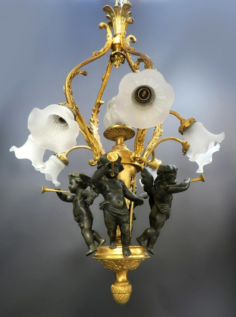 Magnificent 19th C. French Figural Bronze Chandelier - 3