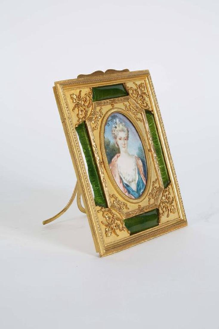 Gilt Bronze Ormolu & Green Guilloche Enamel Frame - 2