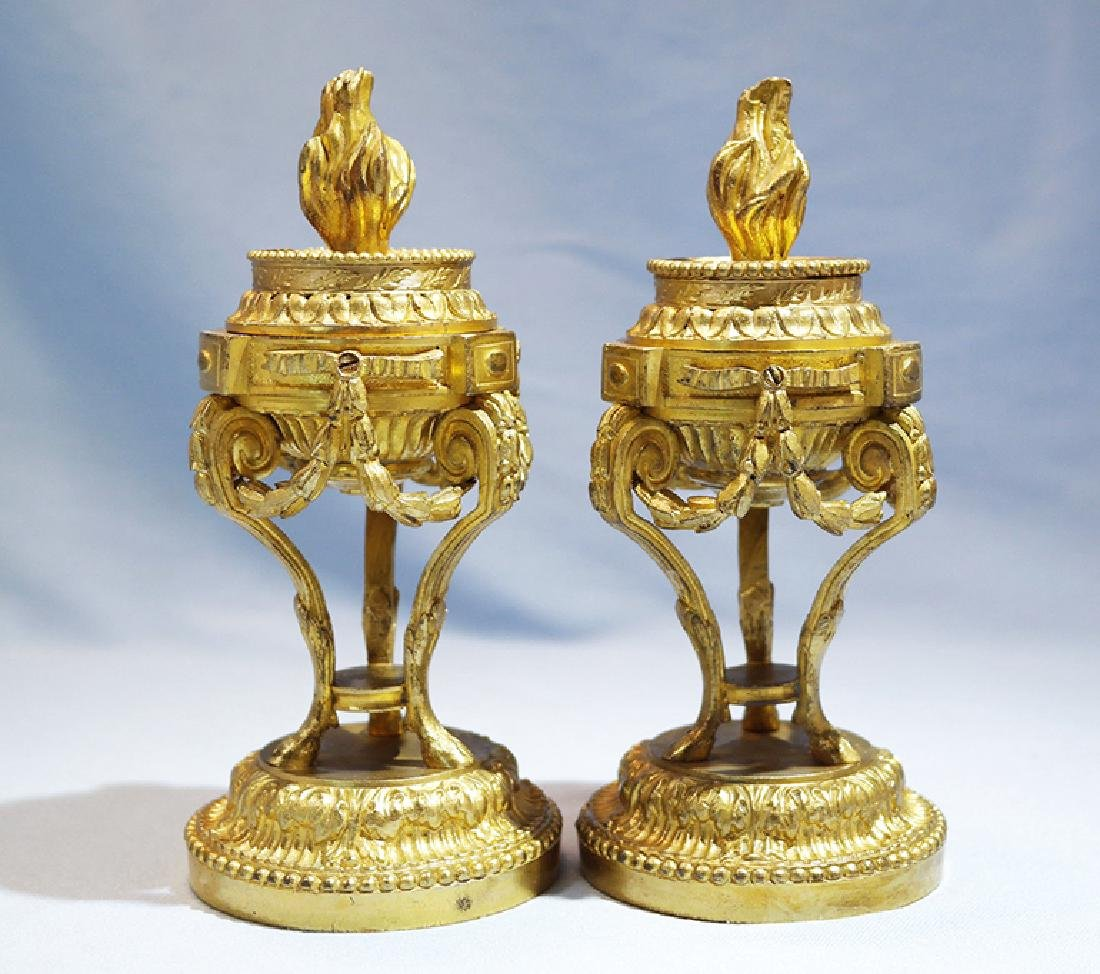 Henry Picard French Gilt Bronze Pair of Candlesticks - 10