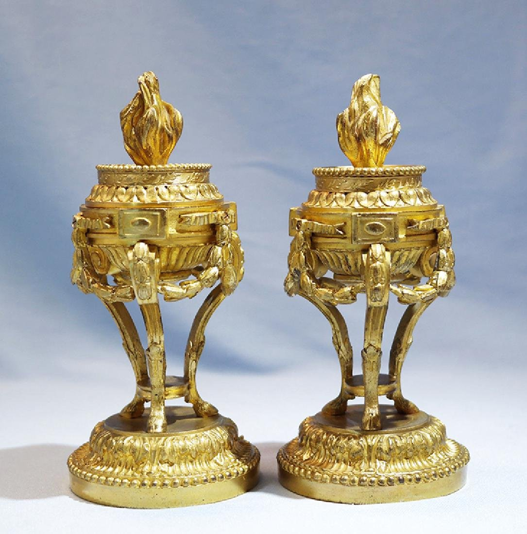 Henry Picard French Gilt Bronze Pair of Candlesticks