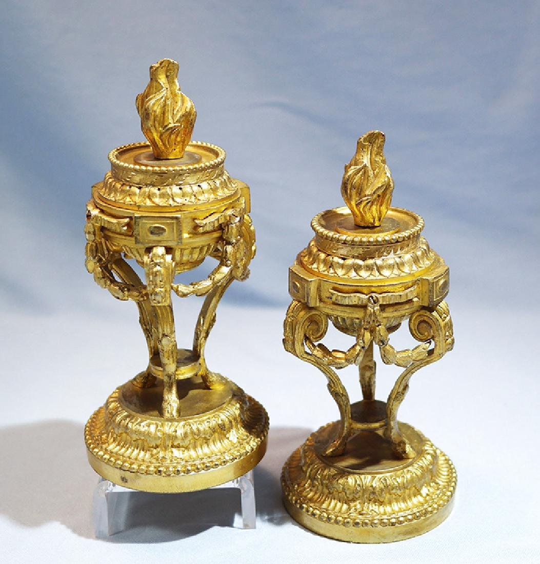 Henry Picard French Gilt Bronze Pair of Candlesticks - 2