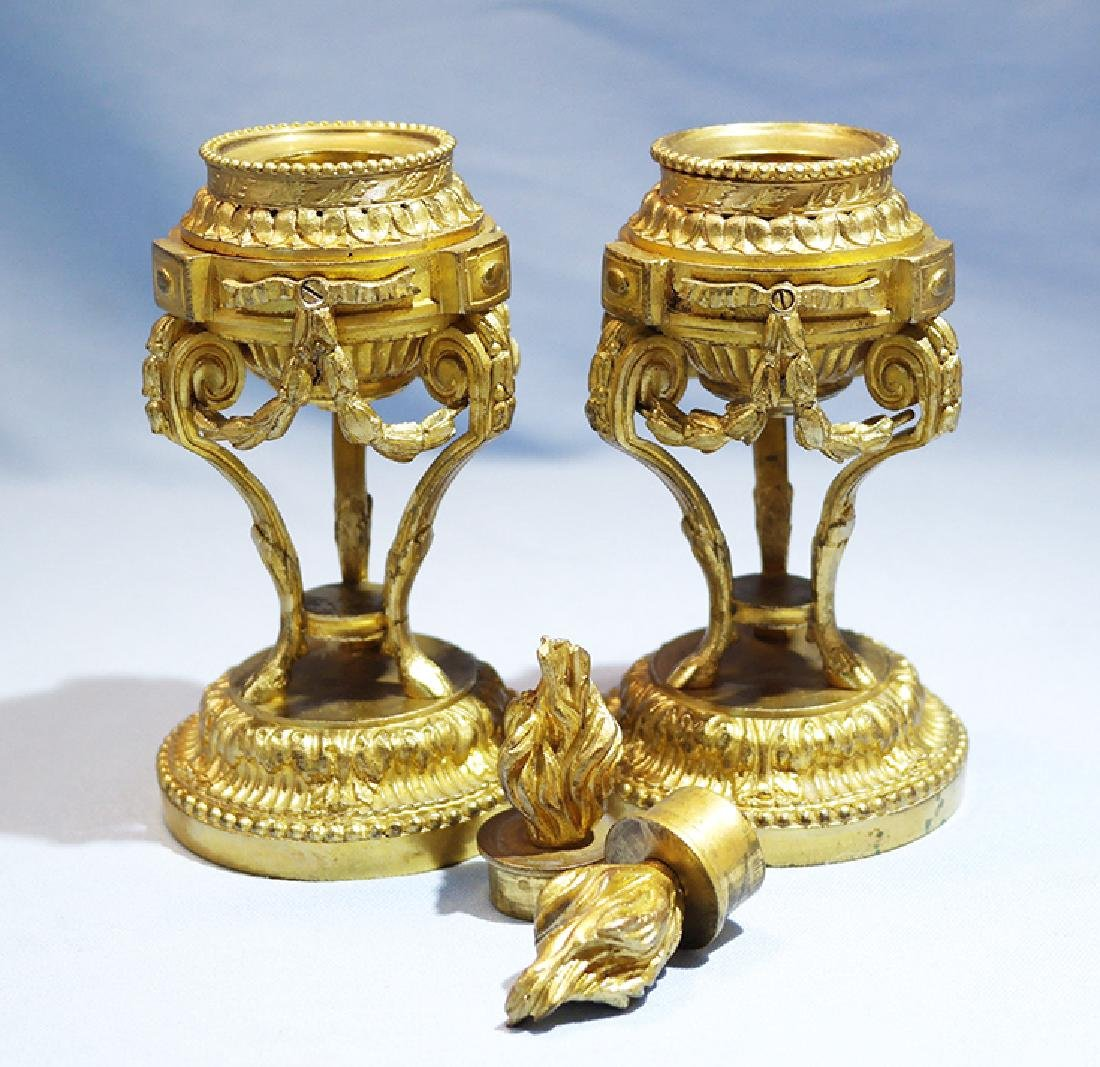 Henry Picard French Gilt Bronze Pair of Candlesticks - 4