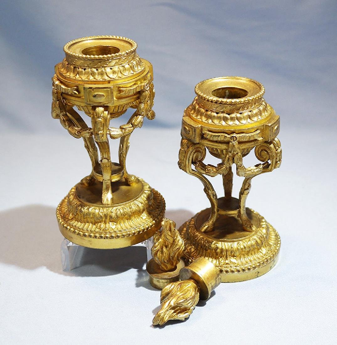 Henry Picard French Gilt Bronze Pair of Candlesticks - 5