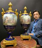 Pair of Large French Figural Bronze & Sevres Urns
