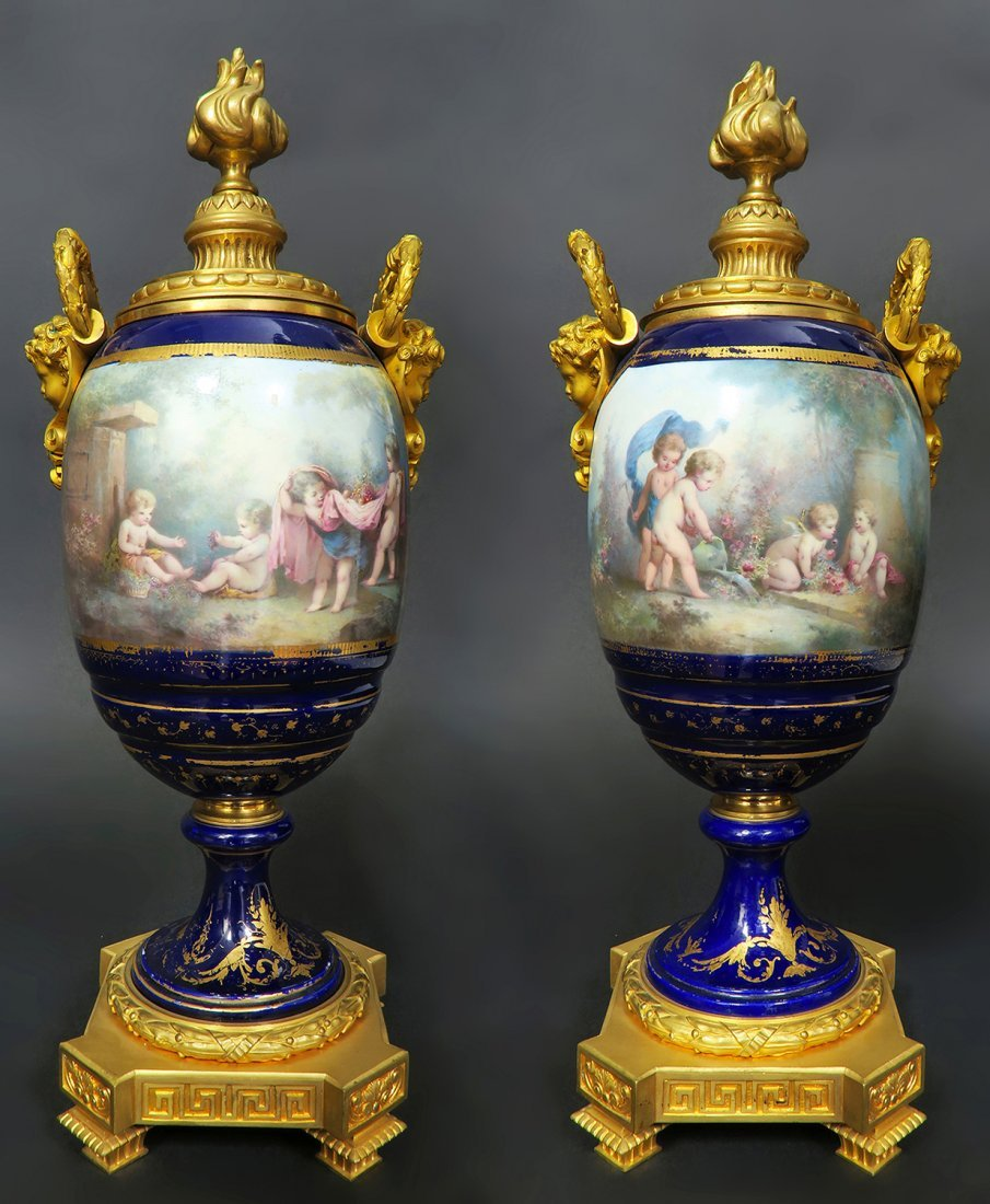 Pair of Large French Figural Bronze & Sevres Urns - 2
