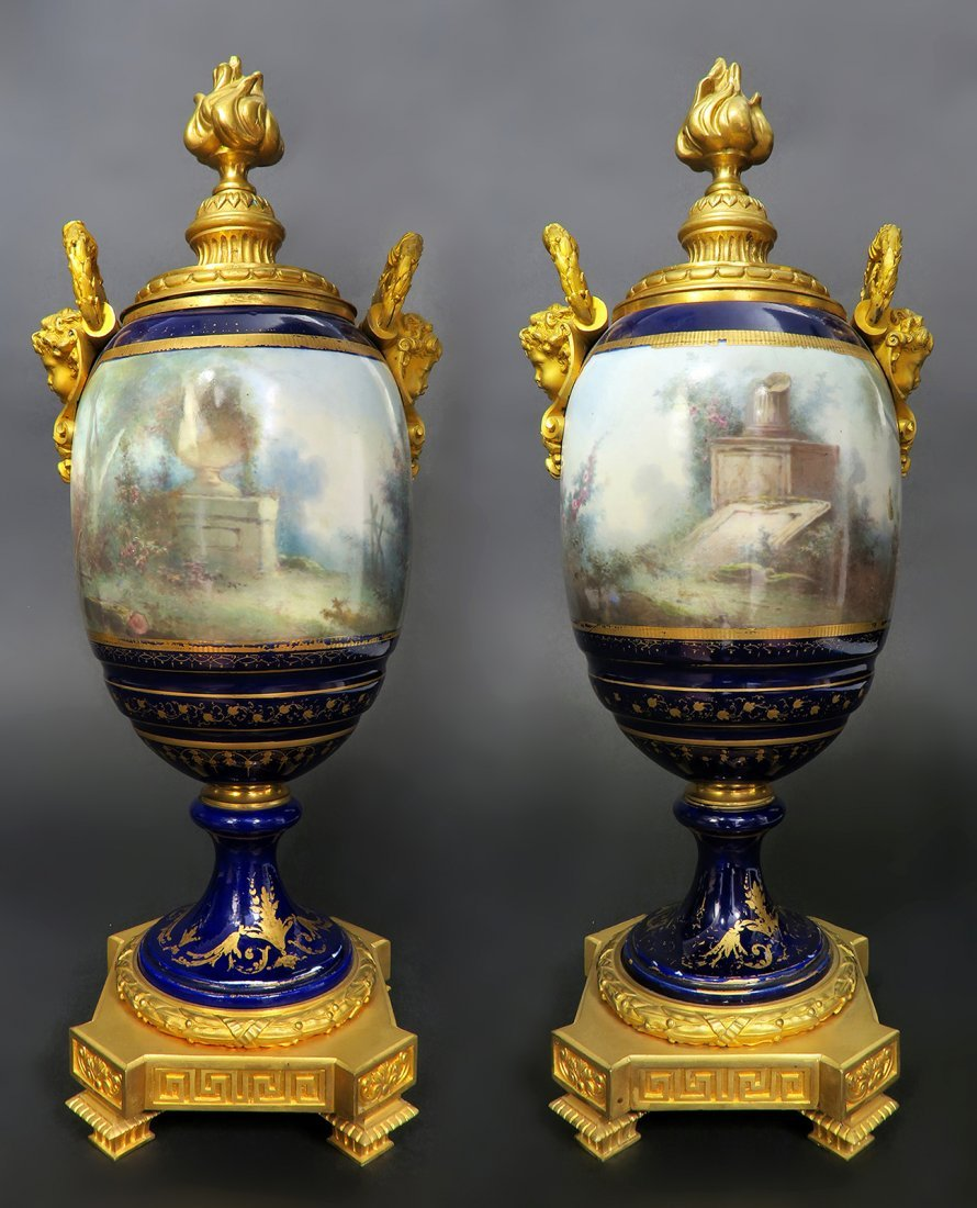 Pair of Large French Figural Bronze & Sevres Urns - 3
