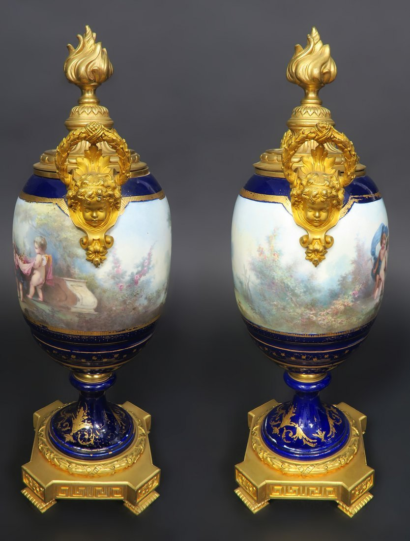 Pair of Large French Figural Bronze & Sevres Urns - 4
