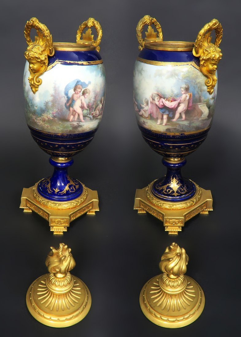 Pair of Large French Figural Bronze & Sevres Urns - 5