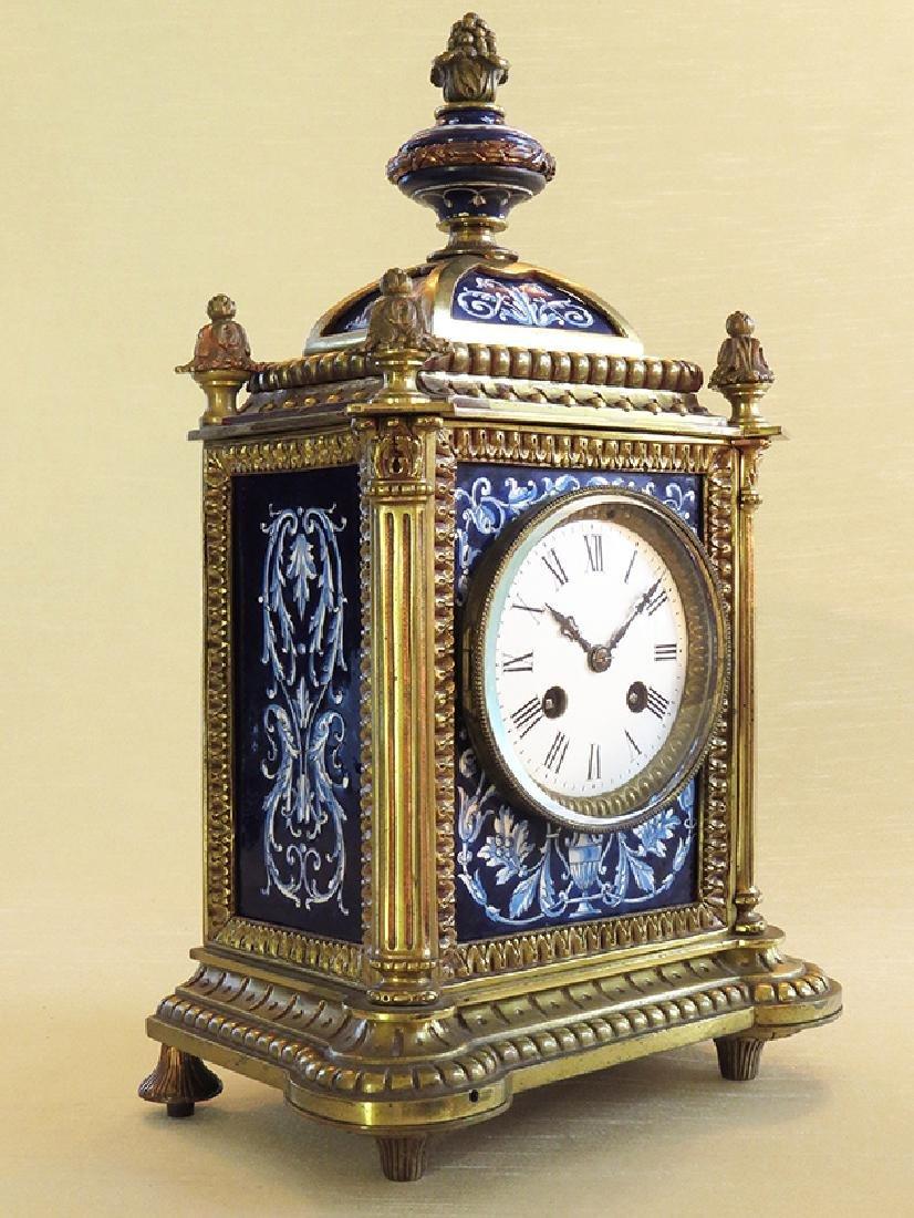 French Gilt Ornate Porcelain Clock - 2