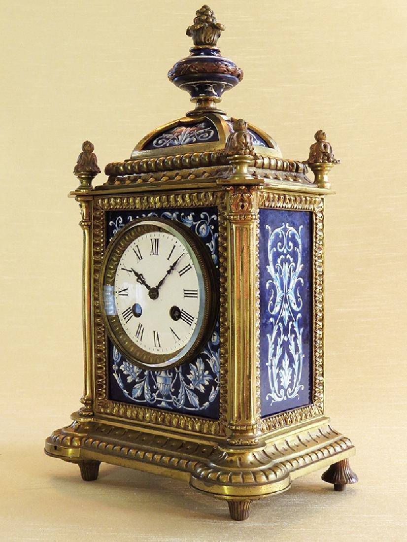 French Gilt Ornate Porcelain Clock - 3