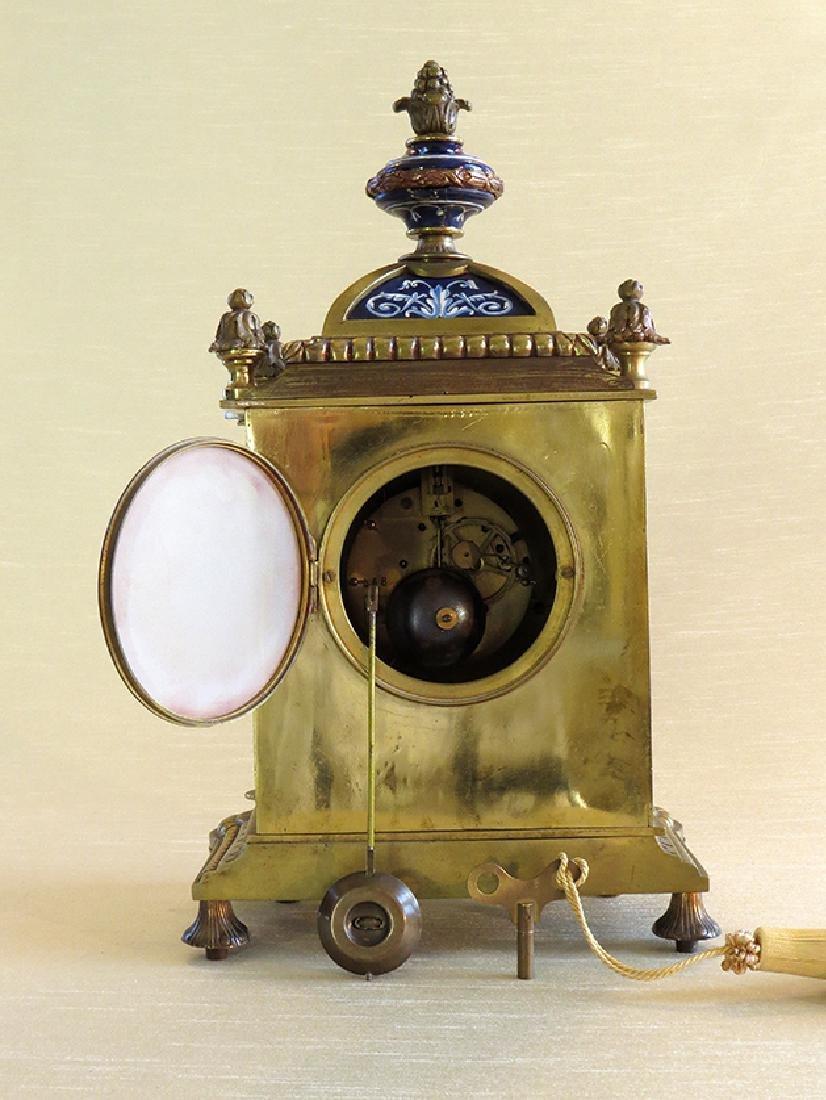 French Gilt Ornate Porcelain Clock - 4
