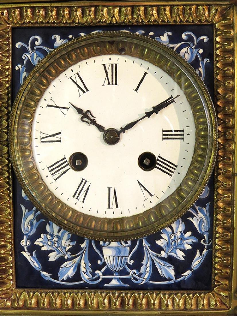 French Gilt Ornate Porcelain Clock - 6