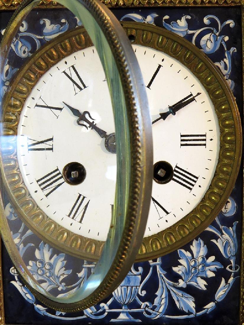 French Gilt Ornate Porcelain Clock - 7