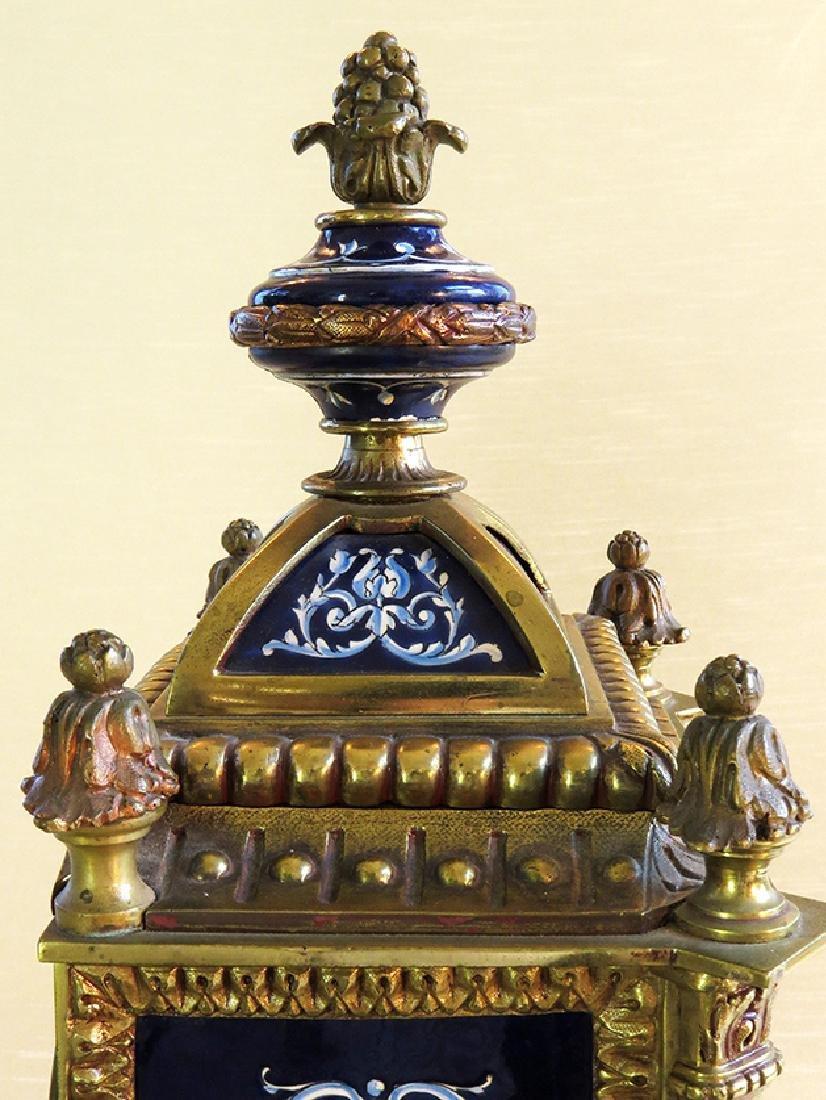 French Gilt Ornate Porcelain Clock - 9