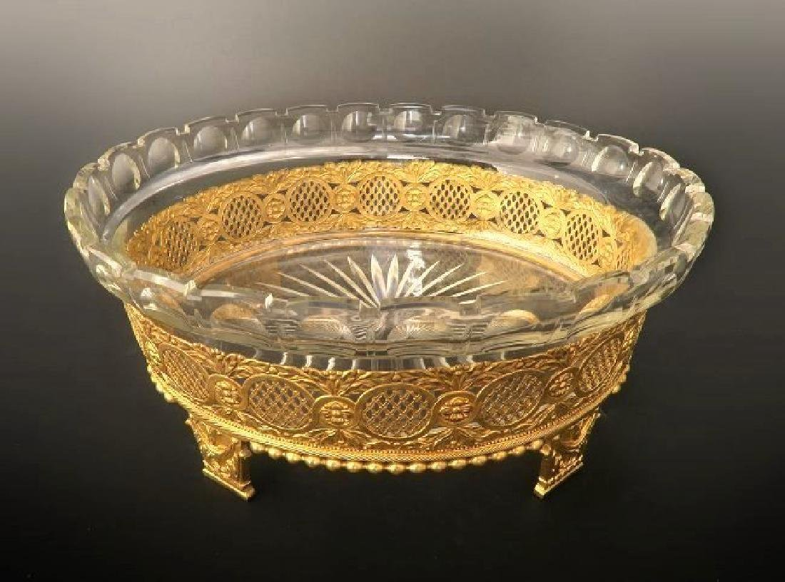 Large 19th C. Bronze & Baccara Crystal Centerpiece